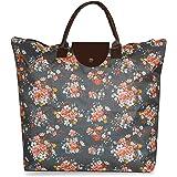 NFI essentials Handy Fold Up Shopping Bag, Foldable Shopping Handbag Travel Bag, Women Shoulder Waterproof Carry Bag, Zip Top