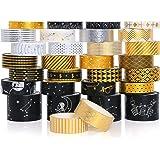30 Rouleaux Washi Tape Ruban Adhésif Papier Décoratif Or noir Masking Tape pour Scrapbooking Artisanat de Bricolage (Black Go