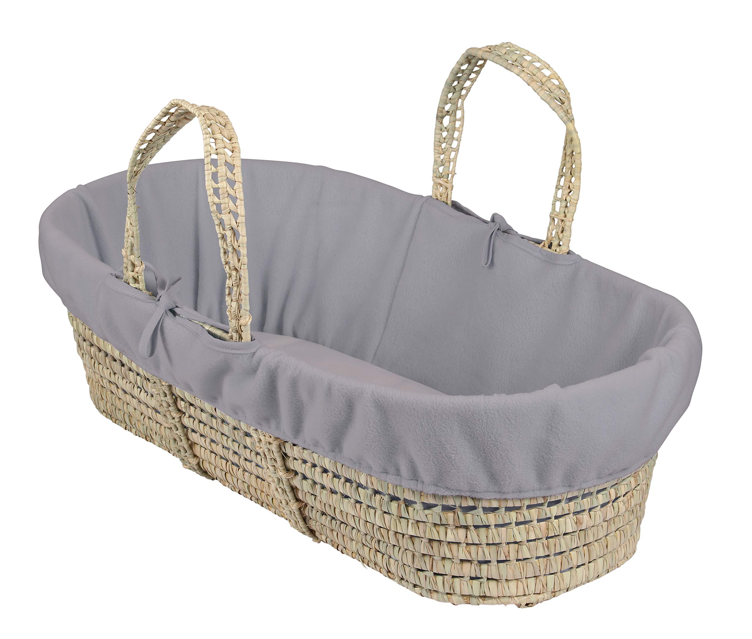 Clair de Lune Fleece Liner for Palm & Wicker Moses Baskets - Grey Melange Clair de Lune Replacement liner for moses/wicker baskets - ideal to use as a spare when washing other dressings Mattress and basket not included 100% polyester anti pilling fleece 1