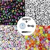 800 Pcs 4 Couleur Acrylique Alphabet Lettre A-Z Cube Perles avec 1 Coupe-Fil 1 Cordon Noir et 1 Fil De Soie pour la Fabricati