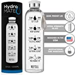 HydroMATE 32 Oz Motivational Glass Water Bottle with Time Marker   Leak Proof   BPA-Free   Track Intake & Drink More...