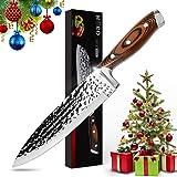 Couteau de Chef 8 pouces, HOBO Couteau de Cuisine Couteau Professionnel Japonais en Acier AUS-10 Super Carbon, Lame Finition,