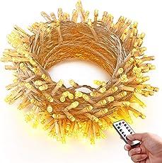 HAYATA 200 LED Batterie Lichterketten - 20m Weihnachtsbeleuchtung mit Fernbedienung & Timer - IP65 Wasserdicht Außenbeleuchtung for Garten, Haus, Hochzeit, Fee Weihnachten Dekoration, Warmweiß