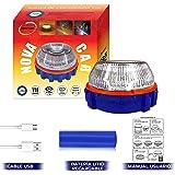 Luz de Emergencia v16 Homologada con Batería Recargable USB Incluida Baliza de Preseñalización de Peligro Recomendado por la
