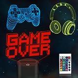 CooPark Veilleuse 3D Game Over Illusion de pixels, manette de jeu (3 motifs) avec télécommande, 16 couleurs changeantes, meil