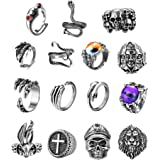 Subiceto 15 Pieces Vintage Punk Rings Adjustable Gothic Rings for Women Men Frog Octopus Snake Skull Claw Cool Rings Set Jewe