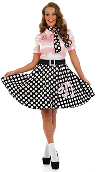 433866fb04b9 50s Rock N Roll Girl - Adult Fancy Dress Costume - Small - 8-10: Funshack:  Amazon.co.uk: Toys & Games