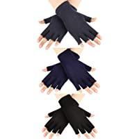 SATINIOR 3 Pairs Half Finger Gloves Winter Fingerless Gloves Knit Gloves for Men Women