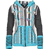 TATTOPANI Señoras Piedra Lavada algodón cárdigan con Crochet maquinilla de Afeitar Cortar diseño.
