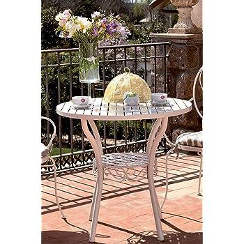 HOMEGARDEN Tavolo in Acciaio da Giardino Bianco 80x75 Tondo