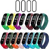 Milomdoi [19 unità] 15 Colori Cinturino + 4Pezzi Pet Pellicola Protettiva per Xiaomi Mi Band 5, Cinturino di Ricambio Morbido