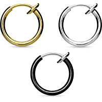 Via Mazzini Stainless Steel 13mm Gold-Silver-Black No Tarnish Clip-On Fake Piercing Ear/Nose/Lip/Tongue Unisex Ring…