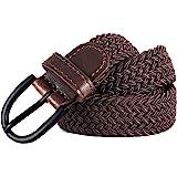 "Junior Braided Stretch Elastic Belt |Pin Buckle | PU Loop End Tip | Boys Girls | 1"" width | 5 Sizes 5 Colors"