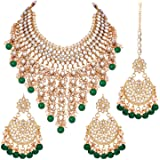 Peora Traditional Wedding Wear Kundan & Pearl Drop Bridal Dulhan Necklace Earring Set with Maang Tikka for Women