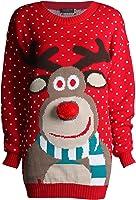 Fast Fashion - Noël Pulls Rudolph Imprimé 3D Nez Pom Pom - Femmes Unisexe