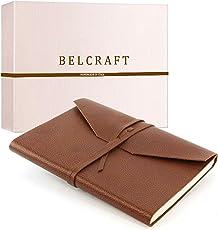 Lodi mittelgroßes Notizbuch aus Leder, Handgearbeitet in klassischem Italienischem Stil, Geschenkschachtel inklusive, Tagebuch, Lederbuch (12x17 cm) Braun