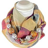 Sciarpa Gioiello Fantasia Geometrica Nei Toni Arancio Con Perle In Resina E Centrali In Legno Montate In Chiusura…