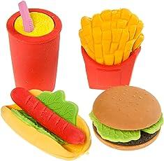 24er Pack Radiergummi Fast Food -Cola Pommes Hamburger Hot Dog -Radier Gummi Rubber 4-Fach Sortiert Radierer Tombola Schulbedarf Mitgebsel Kindergeburtstag