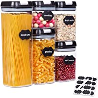 SUCHDECO Lot de 5 Boîte Hermétique Alimentaire boîtes de conservation en plastique sans BPA pour Spaghetti, céréales…