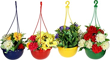 Klassic Hanging Planter Set (Set of 4, Plastic, Multicolor)