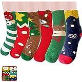Fluffy Socks Christmas 6 Pairs, Cosy Fleece Fuzzy Socks, Cute Winter Warm Bed Socks, Christmas Set for Women Girls Ladies Kid