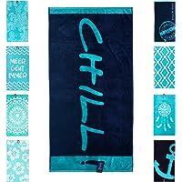 jilda-tex Strandtuch 90x180 cm Badetuch Strandlaken Handtuch 100% Baumwolle Velours Frottier Pflegeleicht (Chill Blue)