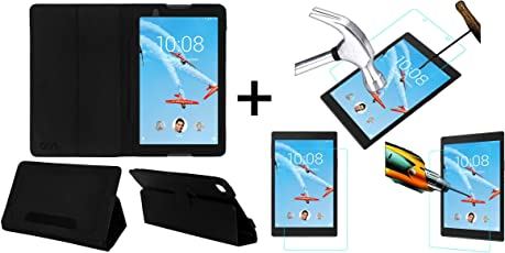 ACM Executive Case & Tempered Glass Combo for Lenovo Tab 4 8 Flip Flap Cover Screen Guard Black