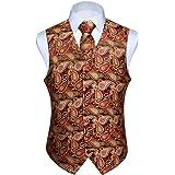 HISDERN Men's Paisley Waistcoat Floral Jacquard Necktie Pocket Square Handkerchief Wedding Party Business Fit Vest Suit Set X
