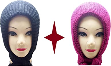Light Gear Women's Woolen Head Scarves, (mcapS, Maroon and Blue)