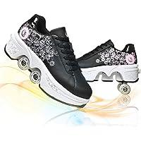 2 in 1 Multifunzionale Quad Skate Pattini A Rotelle Pattinaggio 4 Ruote Skateboard Sneakers Scarpe con Deformazione…