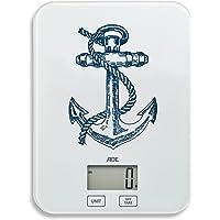 ADE Balance de cuisine numérique KE 1728Stine. Balance Electronique pour la cuisine et la maison avec un motif ancre original. Précis Peser jusqu'à 5kg, fonction tare, écran LCD. Pile incluse. Blanc