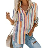 Yidarton Women V Neck Blouse Summer Casual Striped Button Down Short/Long Sleeve Tunic Tops Shirts with Pockets