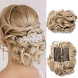 Silk-co Synthetisch Haar Bun Extensions Kammen Clip in Paardenstaart Extension rommelig Scrunchies Haarstukje Donut Updo #Ash