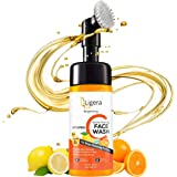 Ligera Brightening Vitamin C Foaming Face Wash with Built-In Face Brush for Deep Cleansing - No Parabens, Sulphate, Silicones