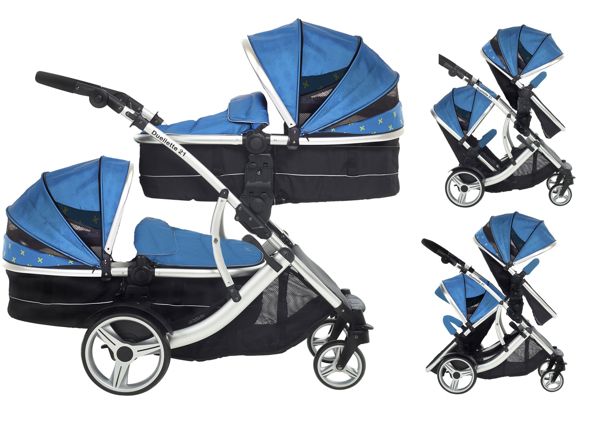 Kids Kargo Duellette 21 Combi Travel system Pram double pushchair NEW COLOUR RANGE! (French aqua plain bumpers) Kids Kargo Demo video please see link https://www.youtube.com/watch?v=X_tEcnQ8O8E%20 Suitability Newborn - 15kg (approx 3 yrs). Carrycot converts to seat unit incl mattress Carrycot & car seats fit in top or bottom position. Compatible car seats; Kidz Kargo 0+, Britax Babysafe 0+ (no adapters needed) or Maxi Cosi adaptors 1