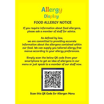 Food Allergy Poster - Allergy Display - A4 Size with frame and free QR code