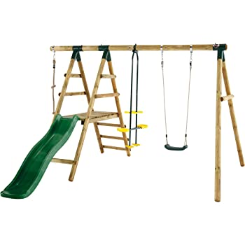 Plum Meerkat Wooden Garden Swing Set and Climbing Frame: Amazon.co ...