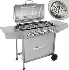 Broil-master Barbecue grill griglia giardino barbecue a gas con 6 bruciatori principali nel colore argento