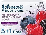 JOHNSON'S, Body Soap, Vita-Rich, Replenishing, 125g, Pack of 5 + 1Free