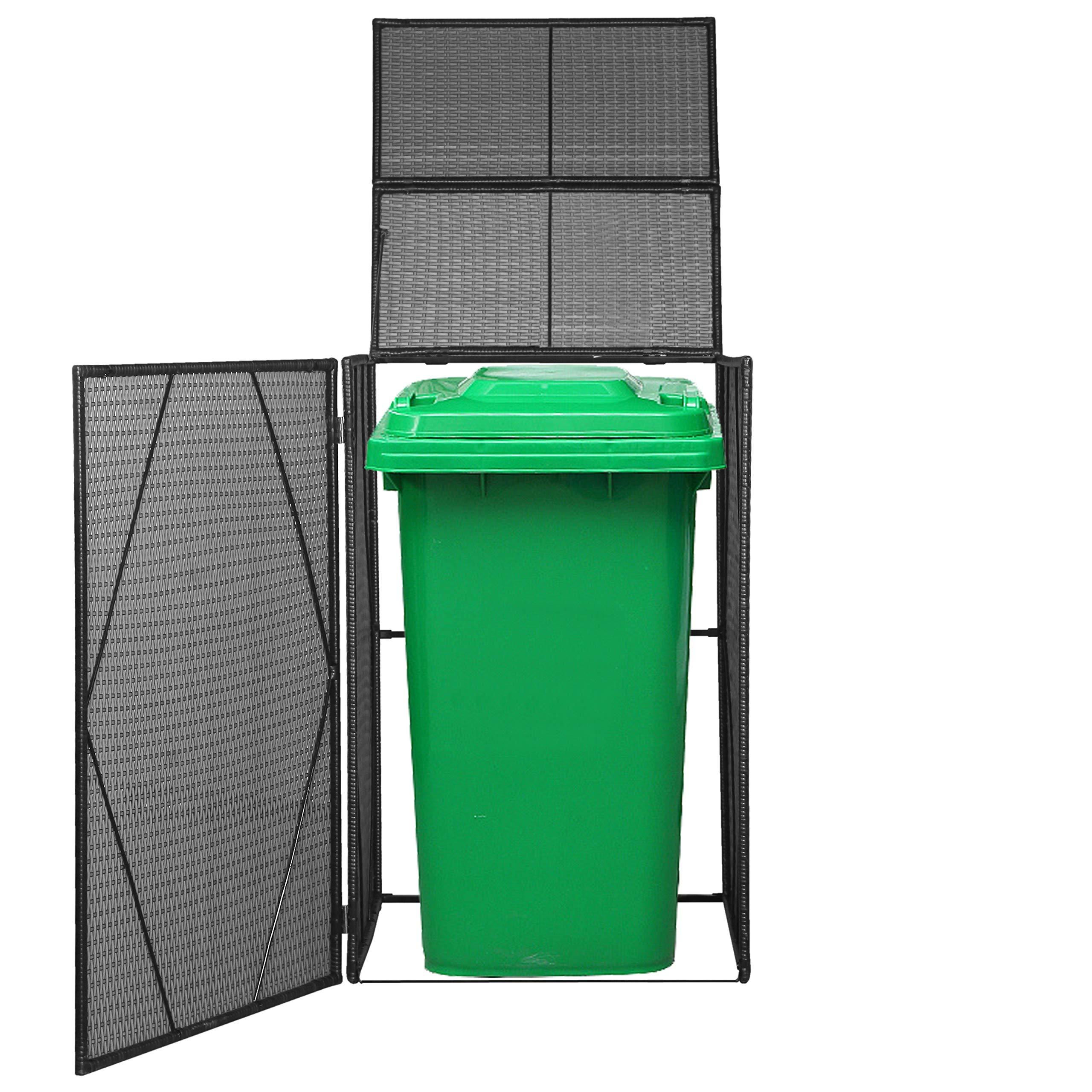 vidaXL Mülltonnenbox für 1 Tonne Poly Rattan Müllbox Mülltonnenverkleidung