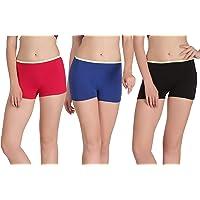 Eve's Beauty Womens Multicolor Boyshort Panties-Pack of 3