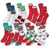 Magicfun Calcetines de Navidad, 8 Pares Calcetines de Cálidos Algodón de invierno, Calcetines de Dibujos Animados Reno de San