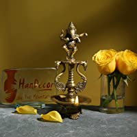 Two Moustaches Brass Dancing Ganesha Oil Diya with Base (Antique Yellow)