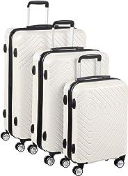AmazonBasics – Trolley mit geometrischem Muster, 3-teiliges Piece Set (55 cm, 68 cm, 78 cm), Cremefarben