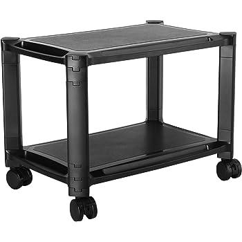 RICOO Support Multi-Rangement PC imprimante WM4-L Table Meuble Caisson de Bureau 2 Niveaux casier Armoire Ordinateur Portable Stand Tablette Tactile Hauteur réglable modulable roulettes/Plastique