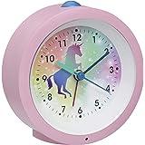 TFA Dostmann analog barn-väckarklocka, 60.1033.12, rosa, enhörning, med belysning, sömnfunktion, utan tickande