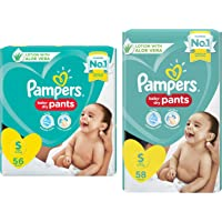 Pampers Diapers Pants, Small, 56 Count & Pampers Diaper Pants, Small, 58 Count