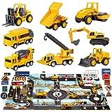 Juguetes De Construcción Juegos Vehículos De Metal para Niños,con tapete de Juego para niños,con Señales de Seguridad Vial,Ex