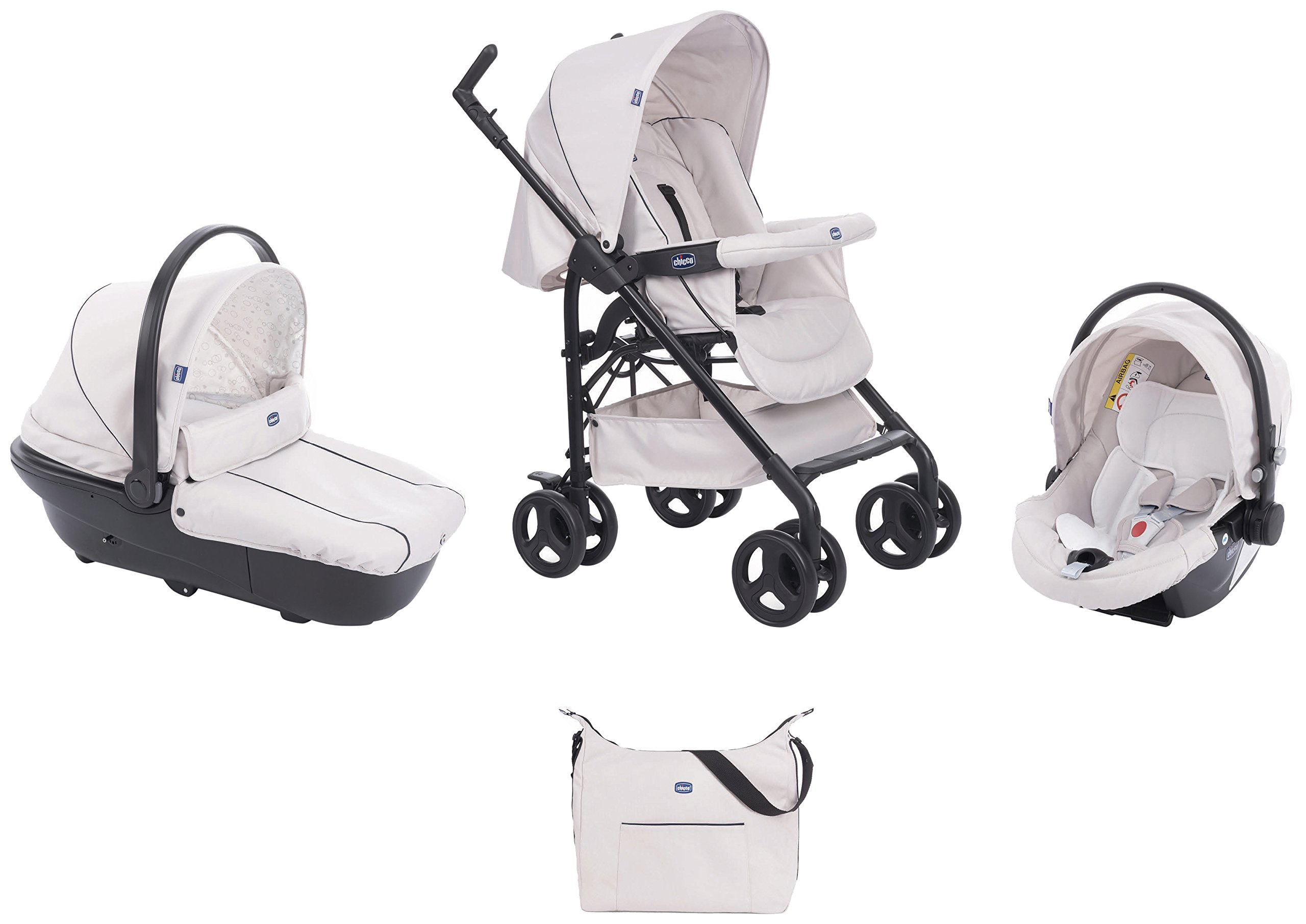 Chicco Trio-System Sprint Black with Car Kit, Sandshell  Sprint is a lightweight sports car with a large, comfortable seat / bed With baby shell synthesis 0+ incl. 5-point-belt, kiva with 3-point-belt incl. kit car, rain cover Incl. exit bag with changing mat, footmuff, comfort handles (360 ° ergonomic twist-push handles), hanging basket 2