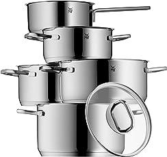 WMF Intension Topfset, 5-Teilig, mit Glasdeckel, Kochtopf, Stielkasserolle, Cromargan Edelstahl Poliert, induktionsgeeignet, spülmaschinengeeignet